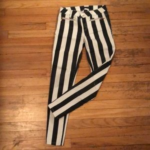 Black and white vertical stripe jeans